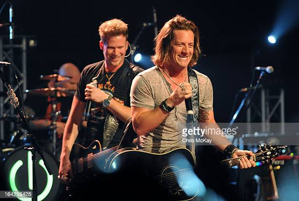 Brian Kelly and Tyler Hubbard of Florida Georgia Line perform at the Georgia Theatre on March 20 2013 in Athens Georgia
