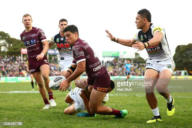 Brian Kelly of the Sea Eagles scores a try during the round 20 NRL match between the Manly Sea Eagles and the Penrith Panthers at Lottoland on July...
