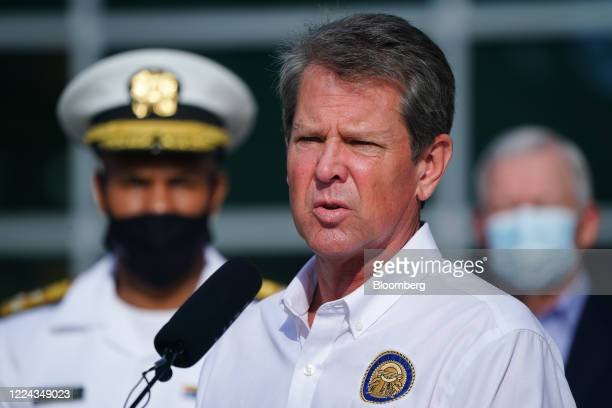 Brian Kemp, governor of Georgia, speaks during a 'Wear A Mask' tour stop in Dalton, Georgia, U.S., on Thursday, July 2, 2020. Governor Kemp on...