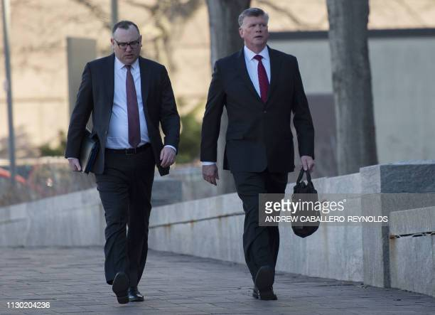 Brian Ketcham and Kevin Downing lawyers for former Trump campaign chairman Paul Manafort arrive at the US District Court in Washington DC on March 13...