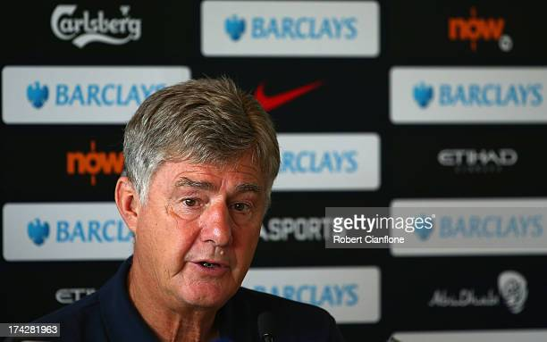 Brian Kidd assistant coach of Mancester City speaks to the media during a Barclays Asia Trophy press conference at Grand Hyatt on July 23 2013 in...