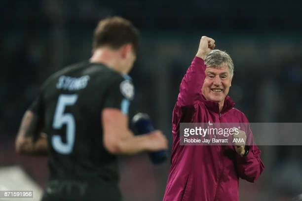Brian Kidd assistant head coach of Manchester City celebrates during the UEFA Champions League group F match between SSC Napoli and Manchester City...