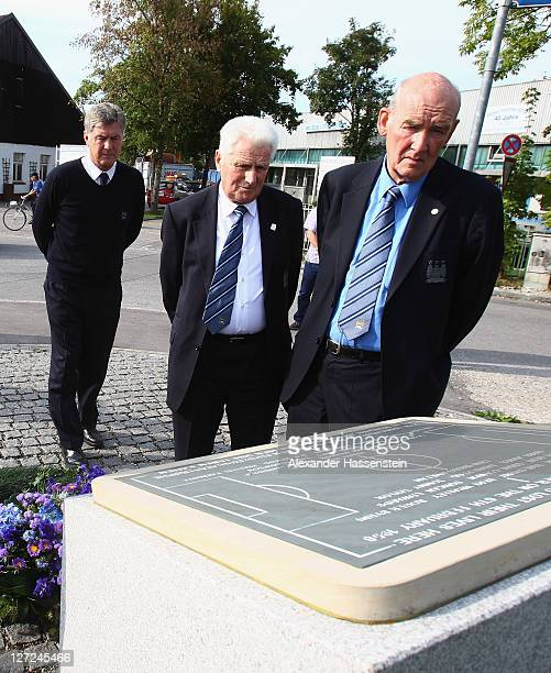 Brian Kidd assistant manager of Manchester City Tony Book former Manager and Bernard Hatford Life President of Manchester City lay a wreath at the...
