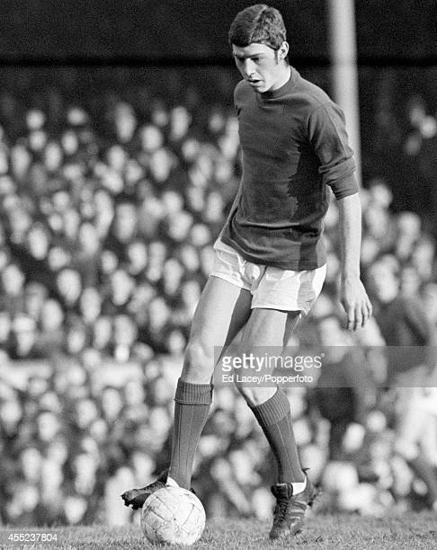 Brian Kidd of Manchester United in action during their Division One football match against Arsenal at Highbury in London on 26th December 1968...