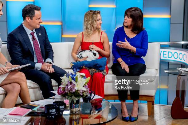 Brian Kilmeade of Fox Friends discusses 'Maroln Bundo's a day in the life of The Vice President' with Charlotte and Karen Pence at Fox News Studios...