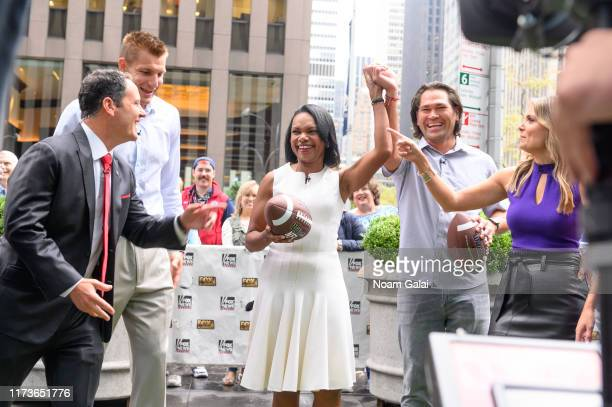 Brian Kilmeade Rob Gronkowski Condoleeza Rice Johnny Damon visit FOX Friends at Fox News Channel Studios on September 10 2019 in New York City