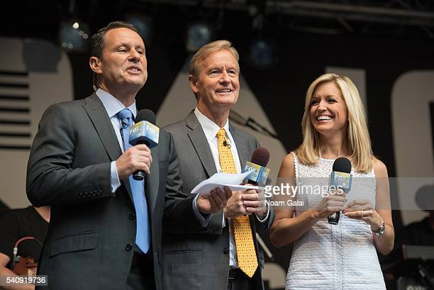 Brian Kilmeade Steve Doocy and Ainsley Earhardt attend FOX Friends All American Concert Series outside of FOX Studios on June 17 2016 in New York City