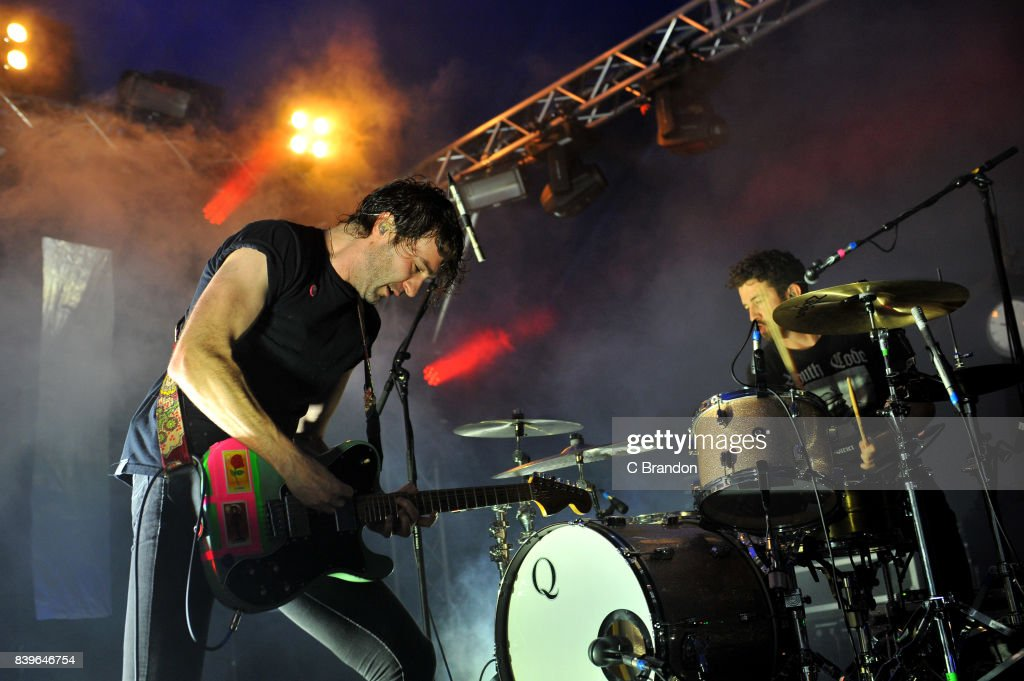 Brian King and David Prowse of Japandroids perform on stage during Day 2 of the Reading Festival at Richfield Avenue on August 26, 2017 in Reading, England.