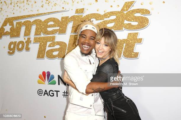 Brian King Joseph and actress Lindsey Stirling attend the America's Got Talent Season 13 Live Show Red Carpet at the Dolby Theatre on September 18...