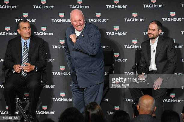 Brian Krzanich JeanClaude Biver and David Singleton attend the TAG Heuer Connected Watch event on November 9 2015 in New York City