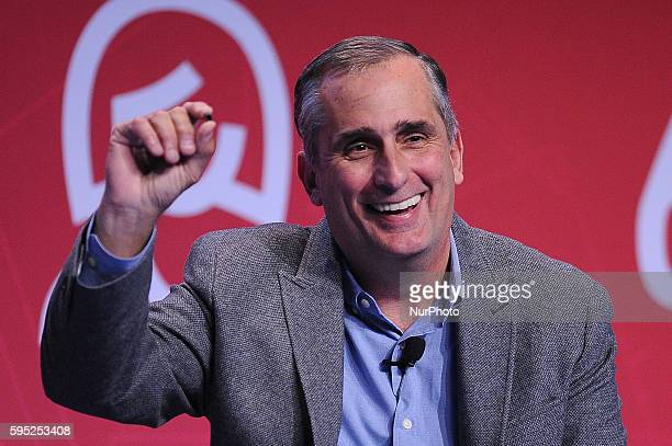 Brian Krzanich the CEO of Intel Corporation speaking during the conference during the first day of Mobile World Congress 2016 in Barcelona 22nd of...
