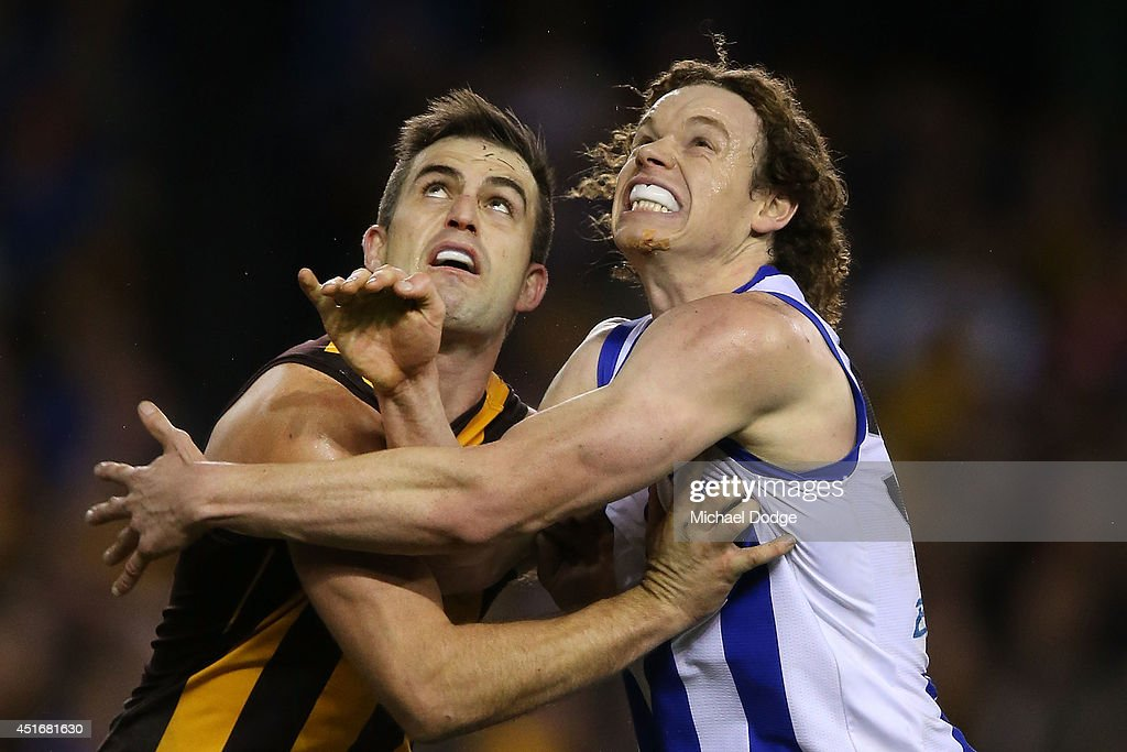 Brian Lake of the Hawks and Ben Brown of the Kangaroos (R) compete for the ball during the round 16 AFL match between North Melbourne Kangaroos and the Hawthorn Hawks at Etihad Stadium on July 4, 2014 in Melbourne, Australia.