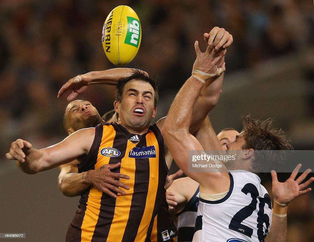 Brian Lake (L) of the Hawks competes for the ball against Tom Hawkins of the Cats during the round 20 AFL match between the Geelong Cats and the Hawthorn Hawks at Melbourne Cricket Ground on August 15, 2015 in Melbourne, Australia.