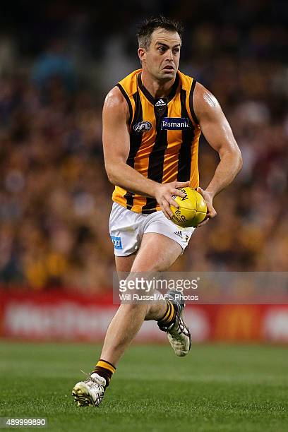 Brian Lake of thr Hawks looks to pass the ball during the AFL First Preliminary Final match between the Fremantle Dockers and the Hawthorn Hawks at...