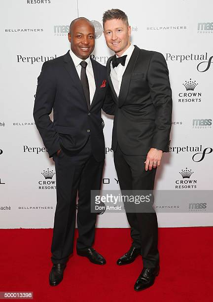 Brian Lara and Michael Clarke arrive ahead of the LOYAL Foundation 'Last Charge' Gala Dinner at Four Seasons Hotel on December 5, 2015 in Sydney,...