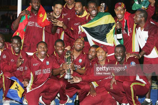 Brian Lara and the West Indies team celebrate winning the Final of the ICC Champions Trophy between England and West Indies on September 25 2004 at...