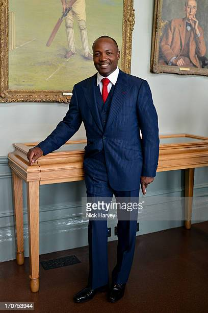 Brian Lara attends the Savile Row & St James's Presentation during the London Collections: MEN SS14 at Lord's Cricket Ground on June 17, 2013 in...