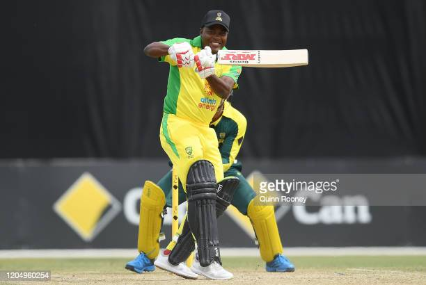 Brian Lara bats during the Bushfire Cricket Bash T20 match between the Ponting XI and the Gilchrist XI at Junction Oval on February 09, 2020 in...