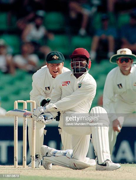 Brian Lara batting for the West Indies during his innings of 132 runs in the 5th Test match against Australia at the WACA in Perth 3rd February 1997...