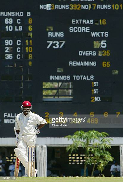 Brian Lara composes himself prior to making 400 runs during day three of the fourth Test match between the West Indies and England at the Recreation...