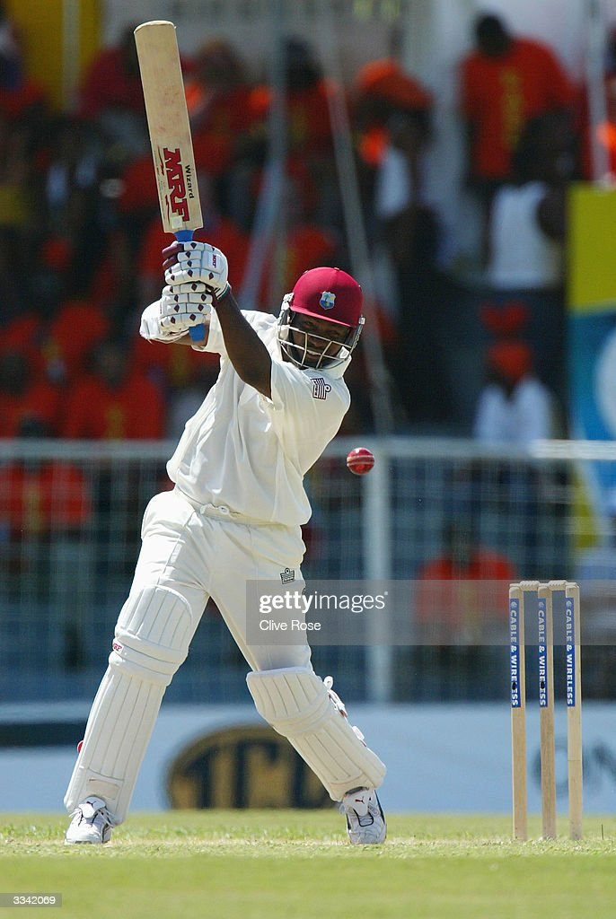 Brian Lara in action during day three of the fourth Test match between the West Indies and England at the Recreation Ground on April 12, 2004 in St Johns, Antigua. (Photo by Clive Rose/Getty Images).