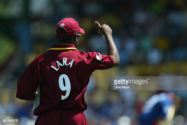 Brian Lara issues a 'thumbsup' to his team during the 6th One Day International at the Beausejour cricket ground on May 2 in Castries StLucia