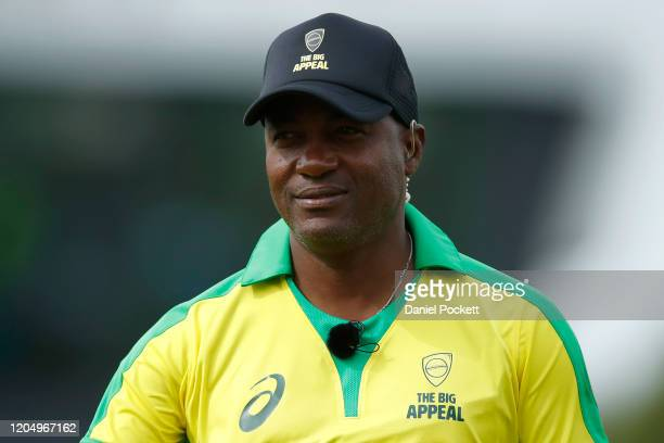 Brian Lara looks on during the Bushfire Cricket Bash T20 match between the Ponting XI and the Gilchrist XI at Junction Oval on February 09, 2020 in...