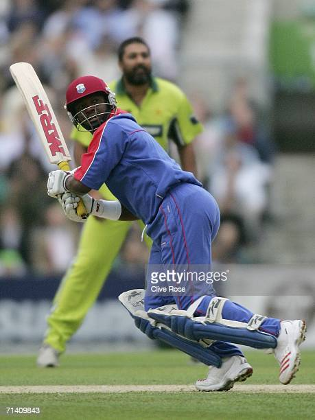 Brian Lara of International XI in action during the Twenty20 match between Pakistan XI and International XI at the Brit Oval on July 1, 2006 in...