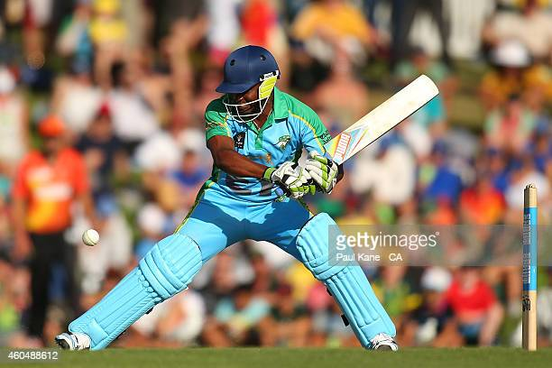 Brian Lara of the Legends XI bats during the Twenty20 match between the Perth Scorchers and Australian Legends at Aquinas College on December 15,...