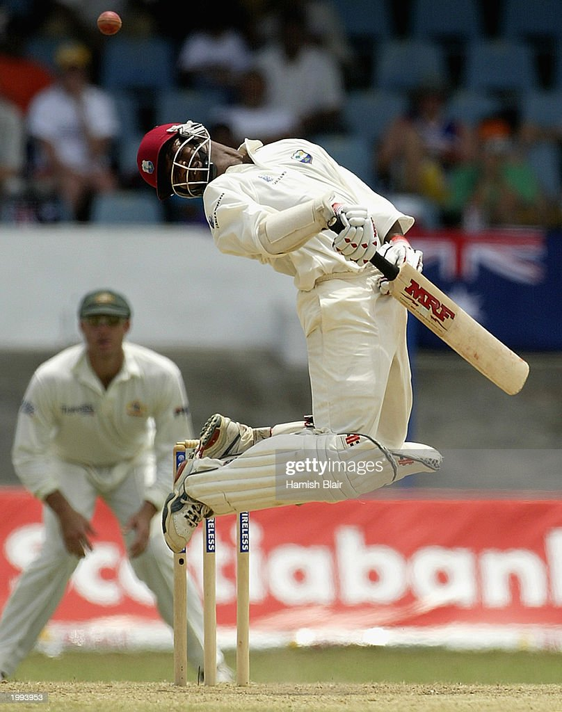 Brian Lara of the West Indies avoids a bouncer from Brett Lee of Australia during day five of the Second Test between the West Indies and Australia on April 23, 2003 played at Queens Park Oval in Port of Spain Trinidad.