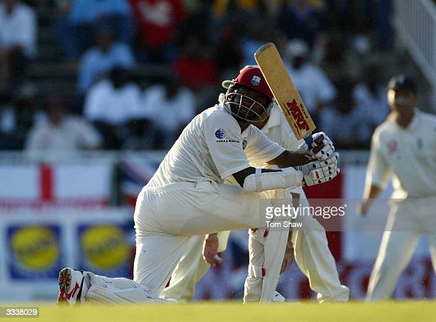Brian Lara of the West Indies during day one of the 4th Test match between the West Indies and England at the Recreation Ground on April 10 in St...