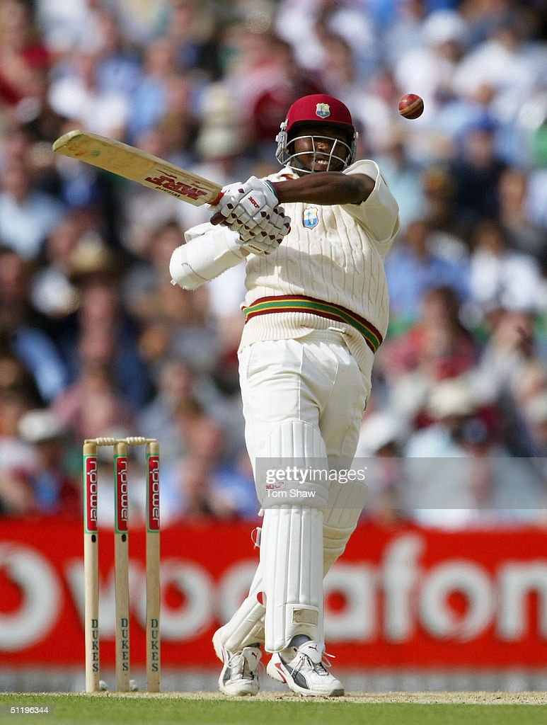 Brian Lara of the West Indies hits out during day 2 of the 4th npower test match between England and the West Indies at the Oval, on August 20, 2004 in London, England.