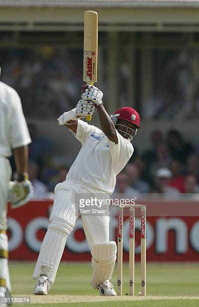 Brian Lara of the West Indies hits out during day two of the England v West Indies 2nd npower Test match at Edgbaston Cricket Ground on July 30 2004...