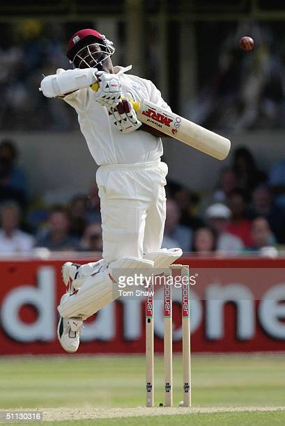 Brian Lara of the West Indies jumps to avoid a bouncer during day two of the England v West Indies 2nd npower Test match at Edgbaston Cricket Ground...
