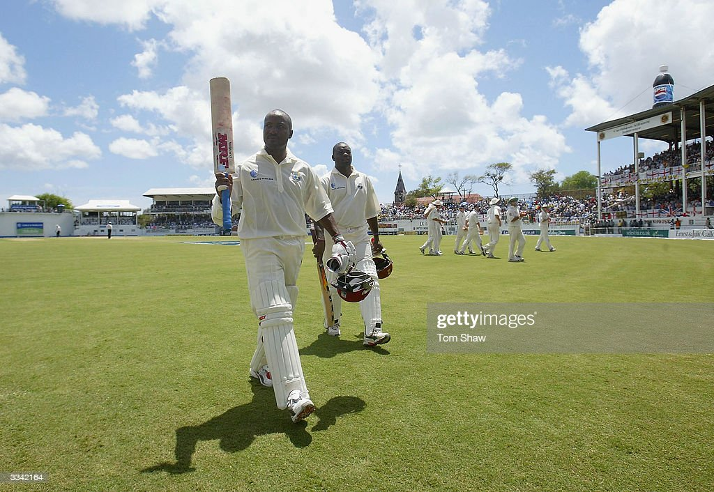 Brian Lara of the West Indies leaves the field after declaring his innings on 400 not out, the highest ever test score during day three of the 4th Test match between the West Indies and England at the Recreation Ground on April 12, 2004 in St Johns, Antigua.