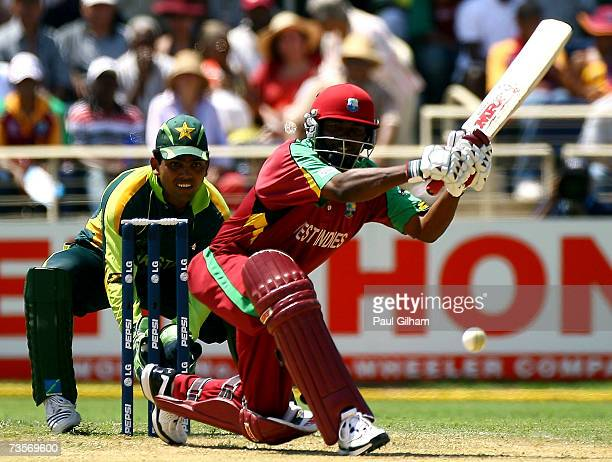 Brian Lara of West Indies hits out during the ICC Cricket World Cup 2007 Group D opening match between West Indies and Pakistan at Sabina Park on...