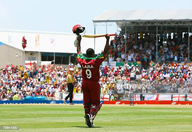 Brian Lara of West Indies salutes the crowd after being run out by Kevin Pietersen of England during the ICC Cricket World Cup Super Eights match...