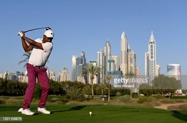 Brian Lara the former international cricketer in action during the pro-am event prior to the Omega Dubai Desert Classic at Emirates Golf Club on...
