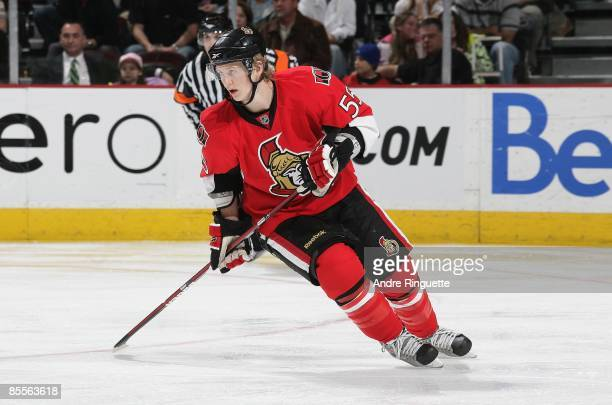 Brian Lee of the Ottawa Senators skates against the Buffalo Sabres at Scotiabank Place on March 17 2009 in Ottawa Ontario Canada