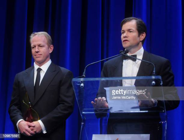 Brian Leetch and Mike Richter speak during the 18th Annual 'A Magical Evening Gala' hosted by the Christopher Dana Reeve Foundation at the Marriott...
