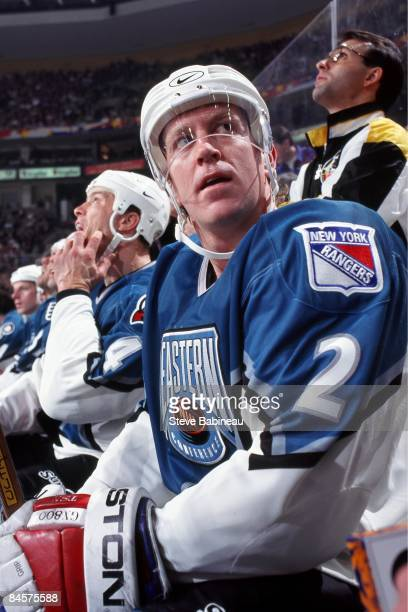 Brian Leetch of the Eastern Conference and the New York Rangers sits on the bench during the 1994 45th NHL AllStar Game against the Western...