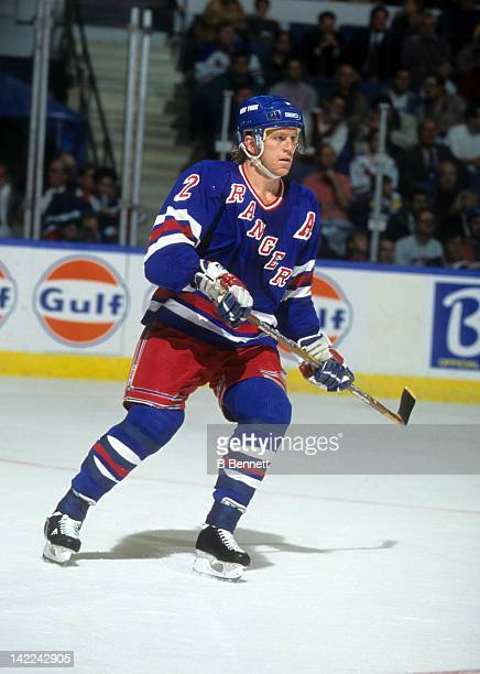 Brian Leetch of the New York Rangers skates on the ice during an NHL game against the New York Islanders on October 17 1995 at the Nassau Coliseum in...