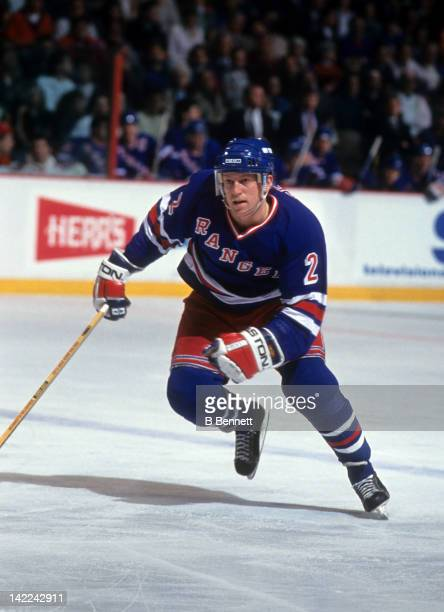 Brian Leetch of the New York Rangers skates on the ice during an NHL game against the Philadelphia Flyers on February 21 1991 at the Spectrum in...