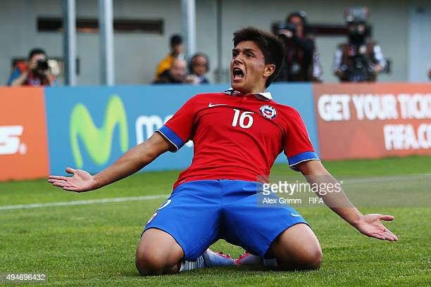 Brian Leiva of Chile celebrates his team's first goal during the FIFA U17 World Cup Chile 2015 Round of 16 match between Mexico and Chile at Estadio...