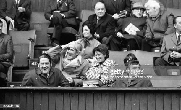 Brian Lenihan and Gerry Jones at the Ireland v Russia football match at Lansdowne Road Stadium in Dublin circa October 1972