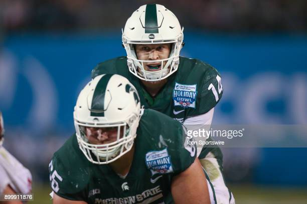 Brian Lewerke of the Michigan State Spartans in the game between the Washington State Cougars and the Michigan State Spartans on December 28 2017 at...