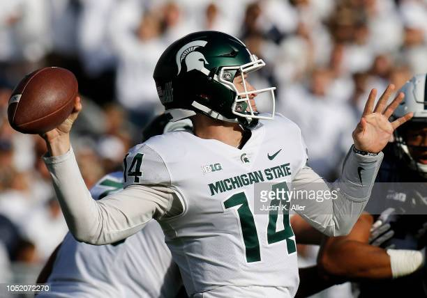 Brian Lewerke of the Michigan State Spartans passes against the Penn State Nittany Lions on October 13 2018 at Beaver Stadium in State College...