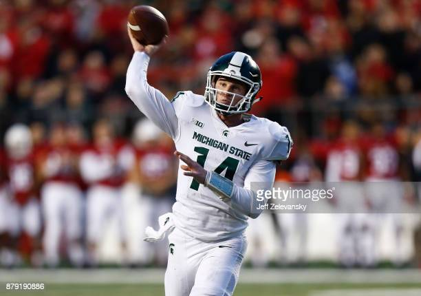 Brian Lewerke of the Michigan State Spartans passes against the Rutgers Scarlet Knights during their game on November 25 2017 in Piscataway New Jersey