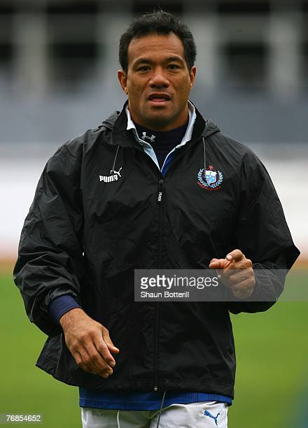 Brian Lima of Samoa looks on during a Samoa training session at JeanPierre Rives Stadium on September 19 2007 in Courbevoie France