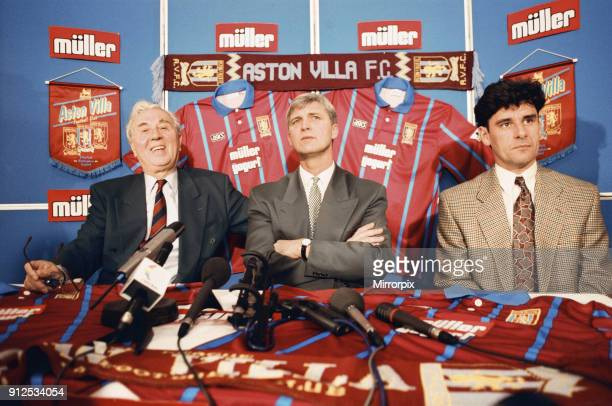Brian Little is unveiled as Aston Villa's new manager He is pictured with Doug Ellis and his assistant at Leicester John Gregory 25th November 1994